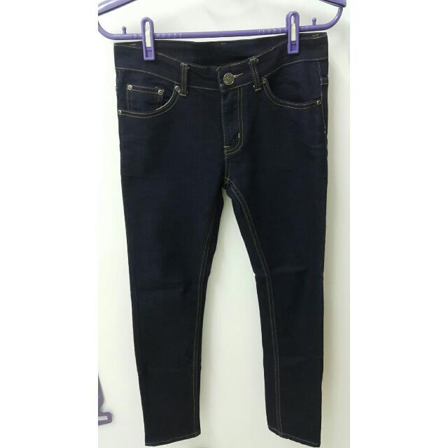 深藍牛仔直筒褲(窄版)