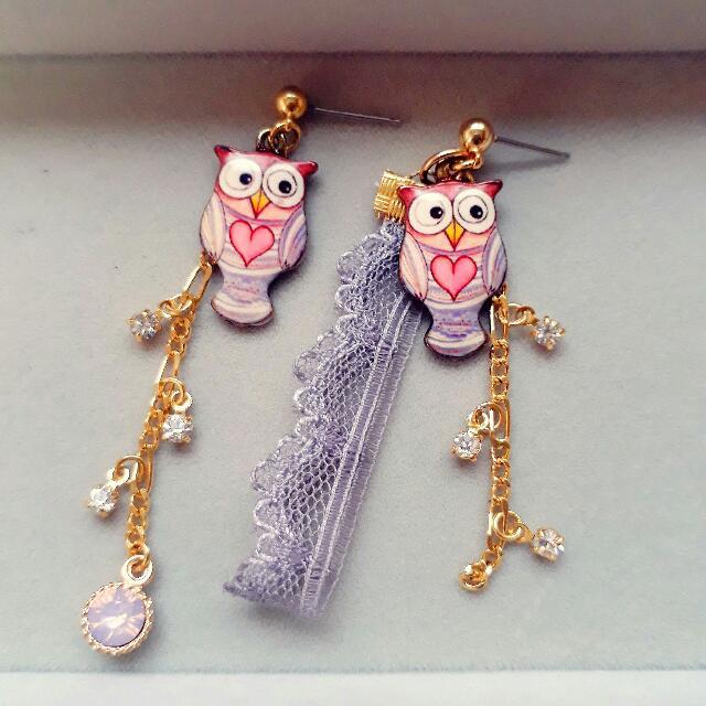 手作紫色貓頭鷹耳環