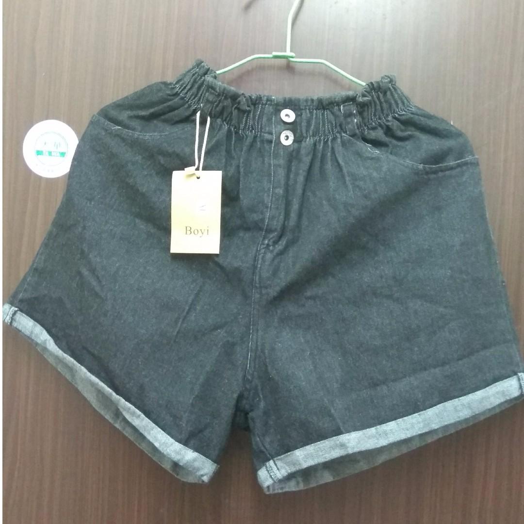 【只售不換】大尺碼鬆緊牛仔短褲