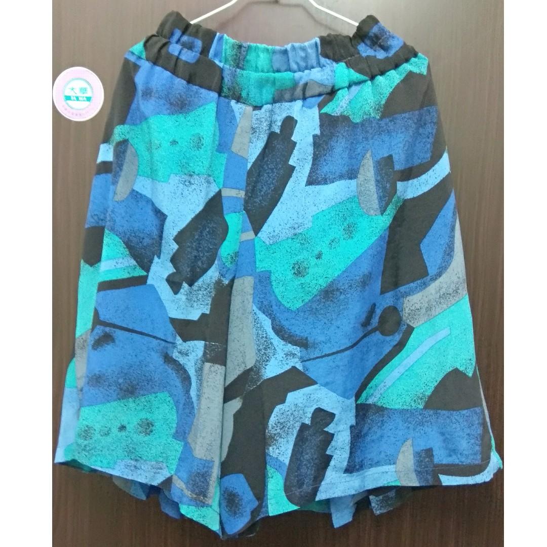 【可交換】孔雀色系幾何寬鬆褲裙 #兩百元雪紡