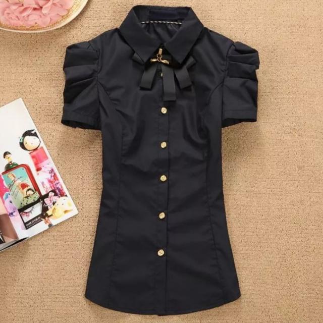 大尺碼黑色短袖襯衫