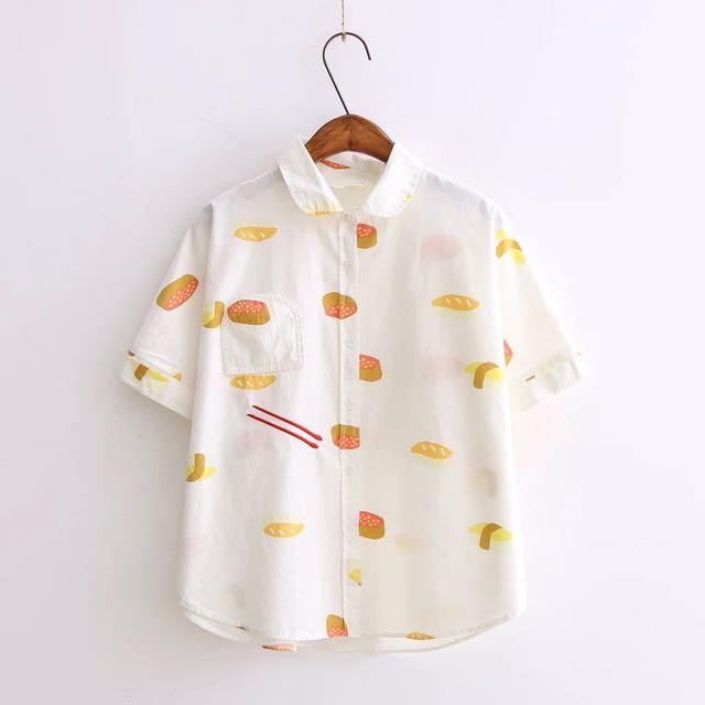 白色壽司短袖襯衫