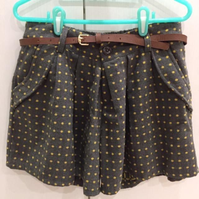 黃點點多口袋褲裙(附皮帶)