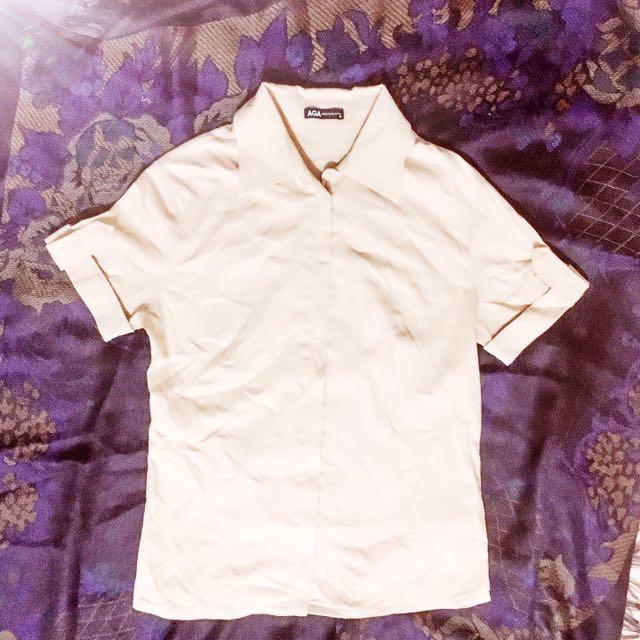 軍風 象牙白 短袖襯衫 百搭