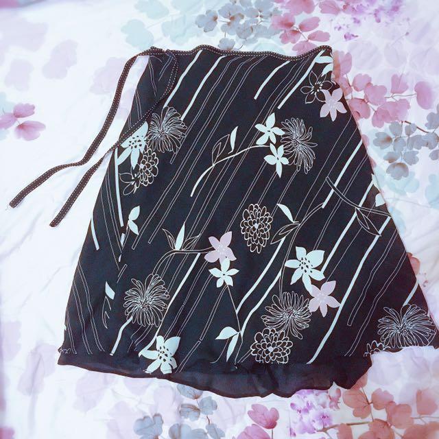 花語 黑色雪紡長裙 氣質 夏