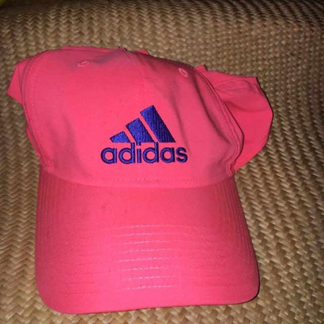 愛迪達帽 螢光粉 螢光橘  Adidas