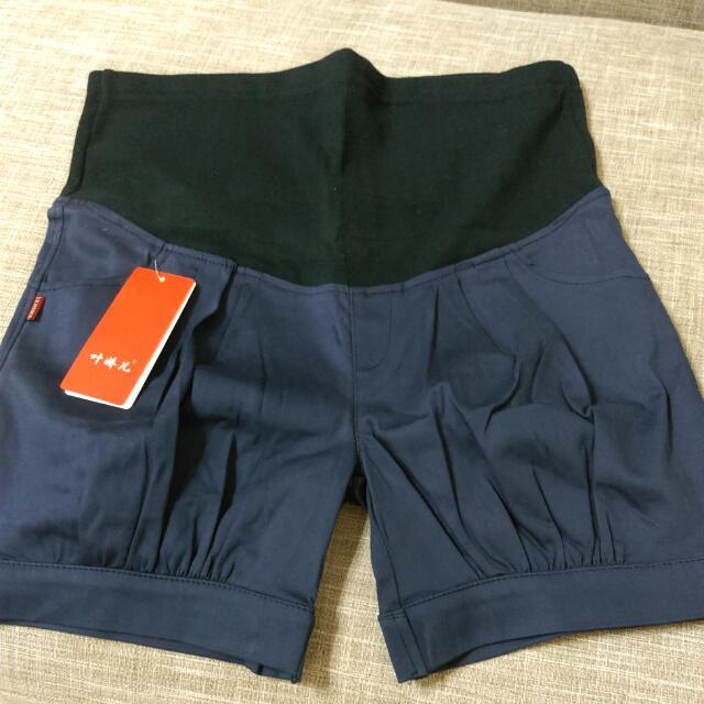 全新品。孕婦短褲 顯瘦藍 L 可調整大小 版型很挺