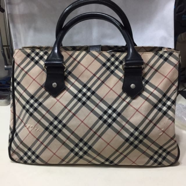 日系 Burberry Blue Label藍標公事包