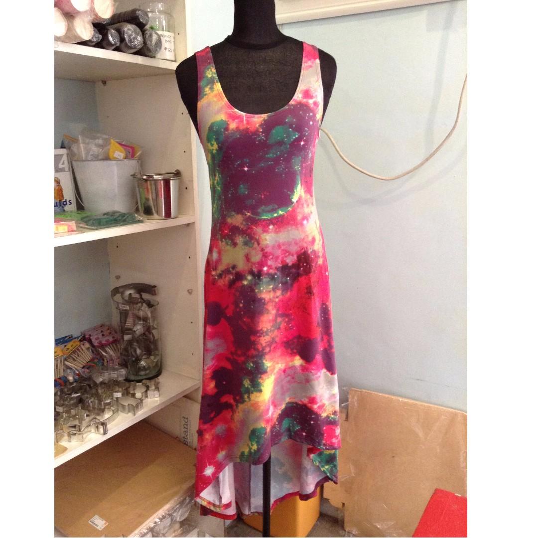 Apartment 8 Galaxy Print Long Back Dress Size M