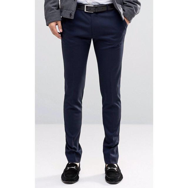 Asos super skinny 深藍色合身窄管 直統 西裝褲 西褲
