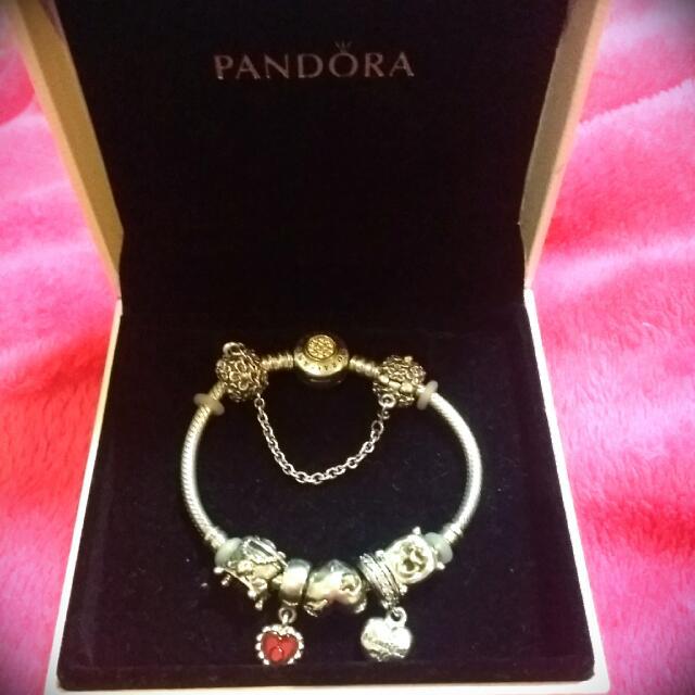 Authentic TT Pandora Bracelet With Charms