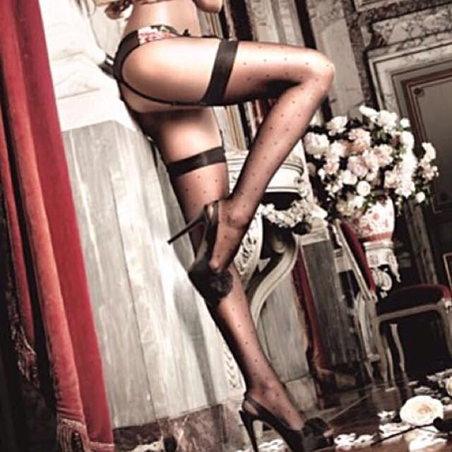 ef8203000 BACI Black Sheer Dot Thigh High Stockings