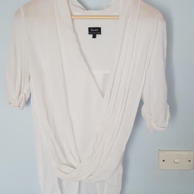 Bardot Sheer Cotton White Top