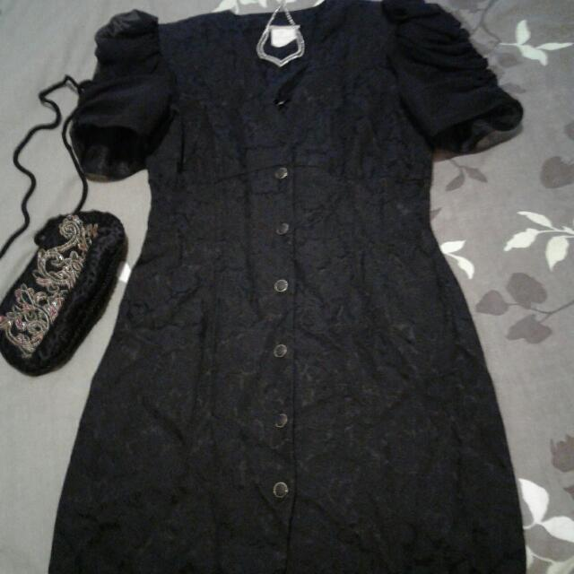 Black Dress With Acessories Size S