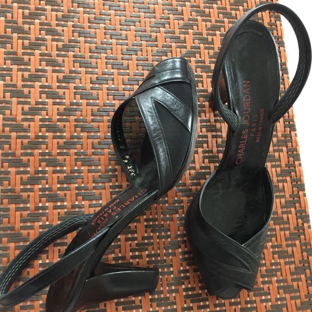 Black Leather Peep Toe Heels Size 6.5