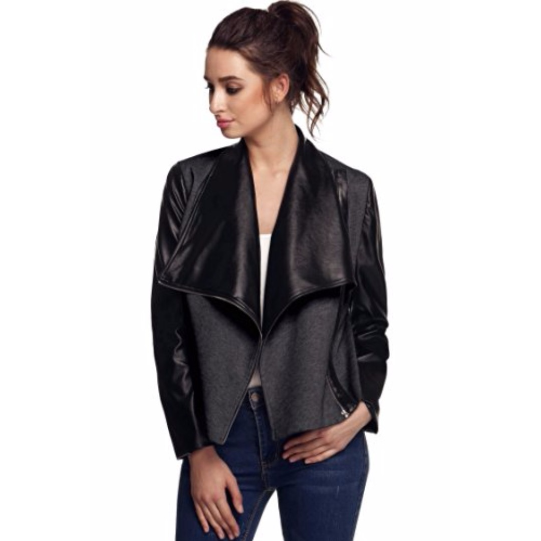 BN Cotton and Synthetic Leather Slim Jacket M