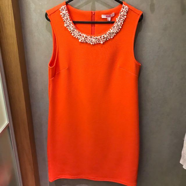 Brand New Orange Pearl Party Dress