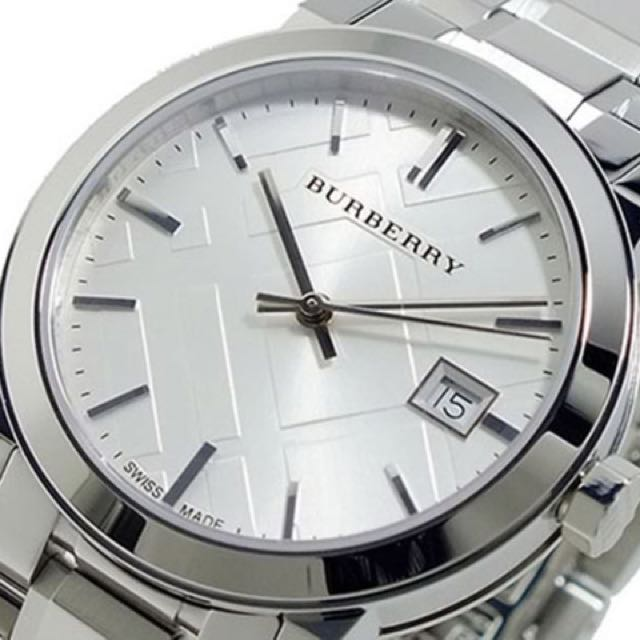 854a8d31e8d BURBERRY Unisex Large check Stainless Steel Watch BU9100 With box ...