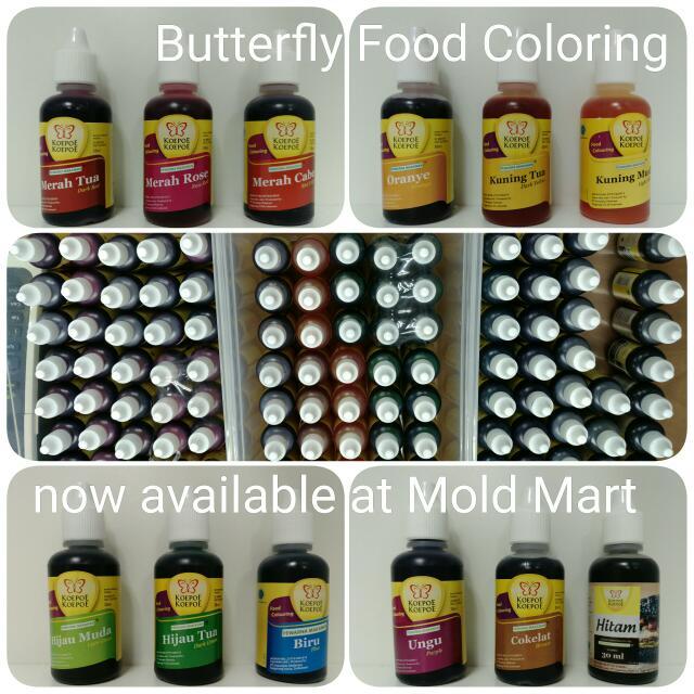 Butterfly Food Coloring Halal Colour Liquid for Cakes Agar Agar ...
