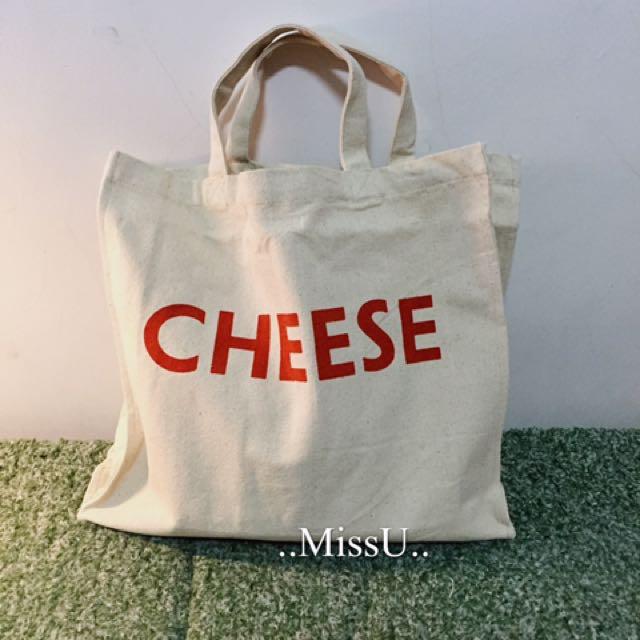手提帆布字母cheese環保袋