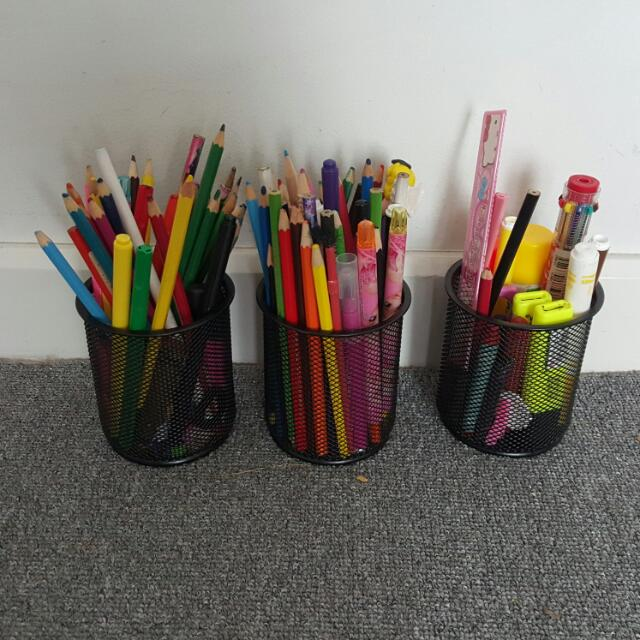Color pencils, sharpeners