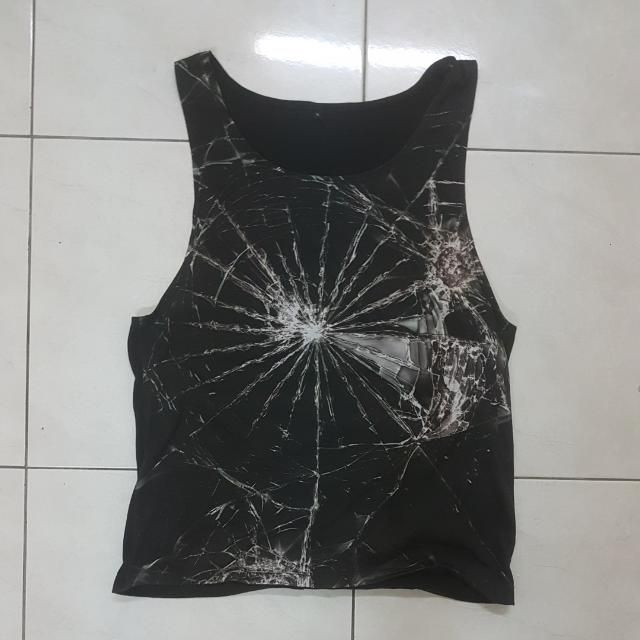 Cool Black Shattered Glass Top