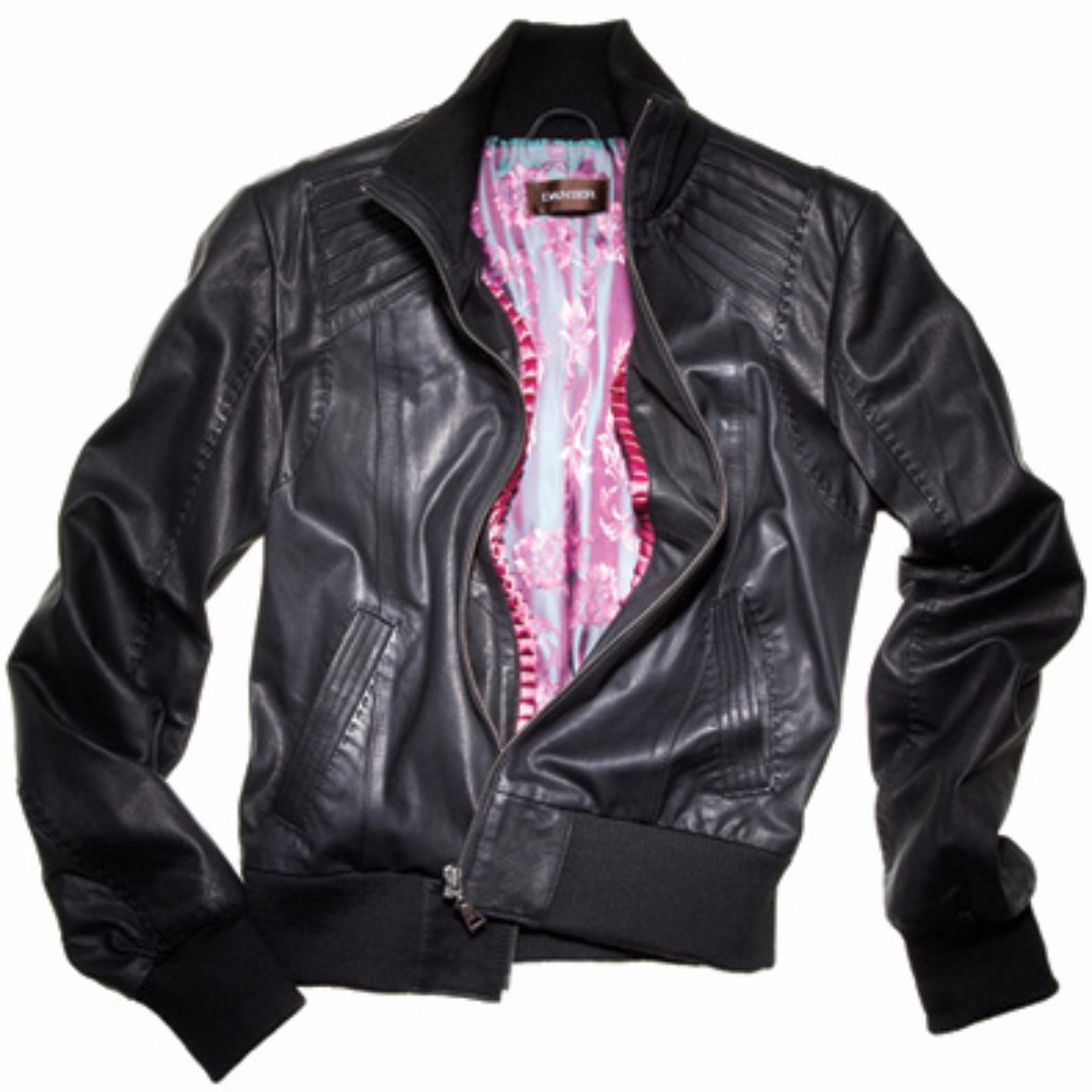 Danier Women's Genuine Leather Black Bomber Jacket