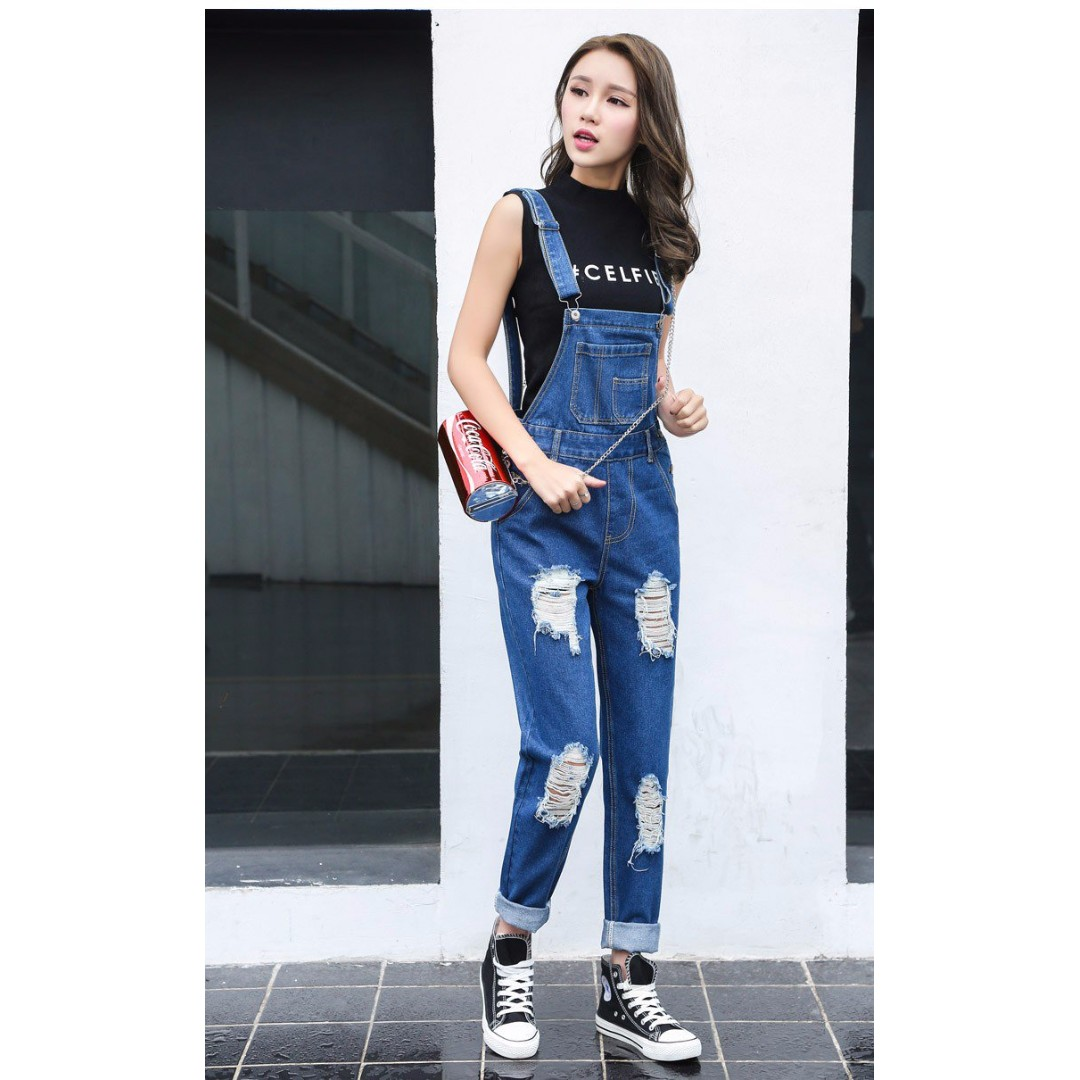 5758a1264e6 Denim Pinafore Overall Pants (KR078754)