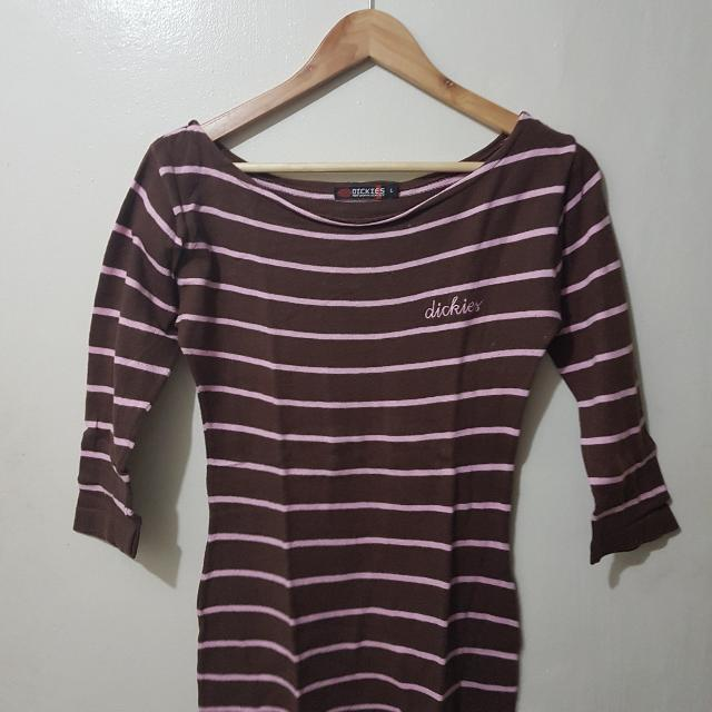 Dickies Pink And Brown Stripe Top
