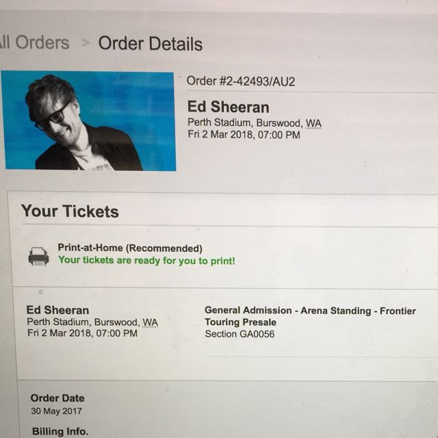 Ed Sheeran Perth Stadium Concert Tickets