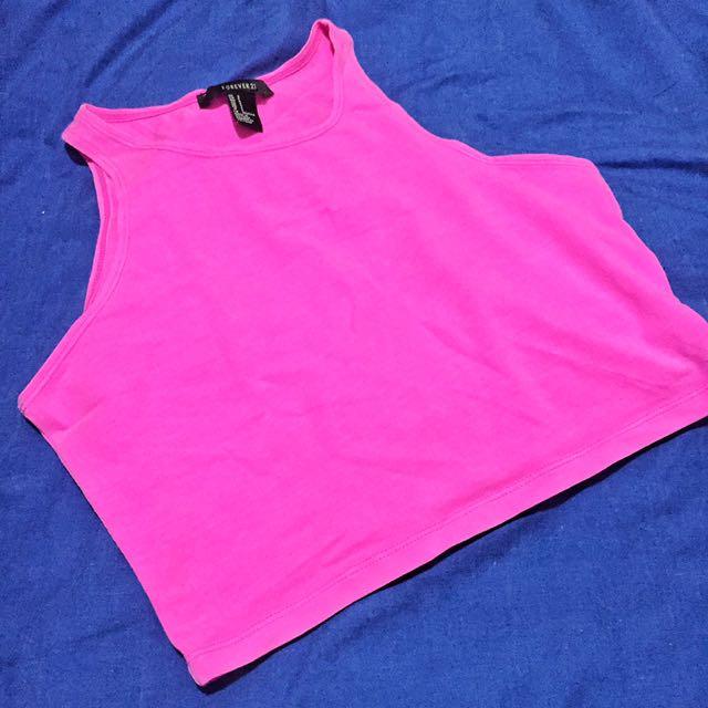 F21 Pink Crop Top