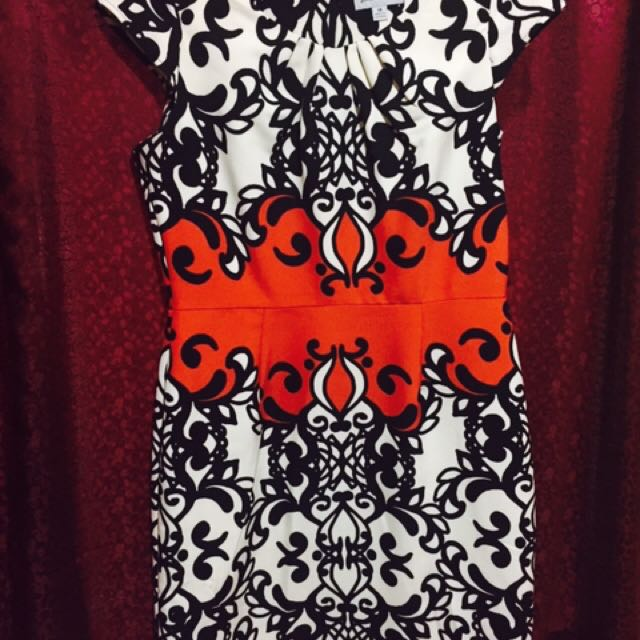 Floral black.white&orange Dress