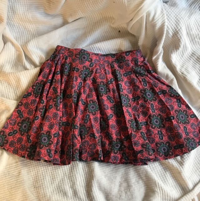 floral paisley high waist skirt