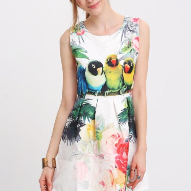 Flower And Parrot Dress