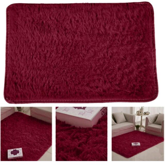 Fluffy Rugs Anti-skid Shaggy Area Rug Dining Carpet Floor Mat Wine Red