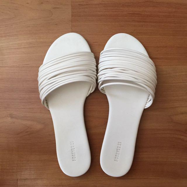 Forever 21 White Sliders/Slip-on Sandals