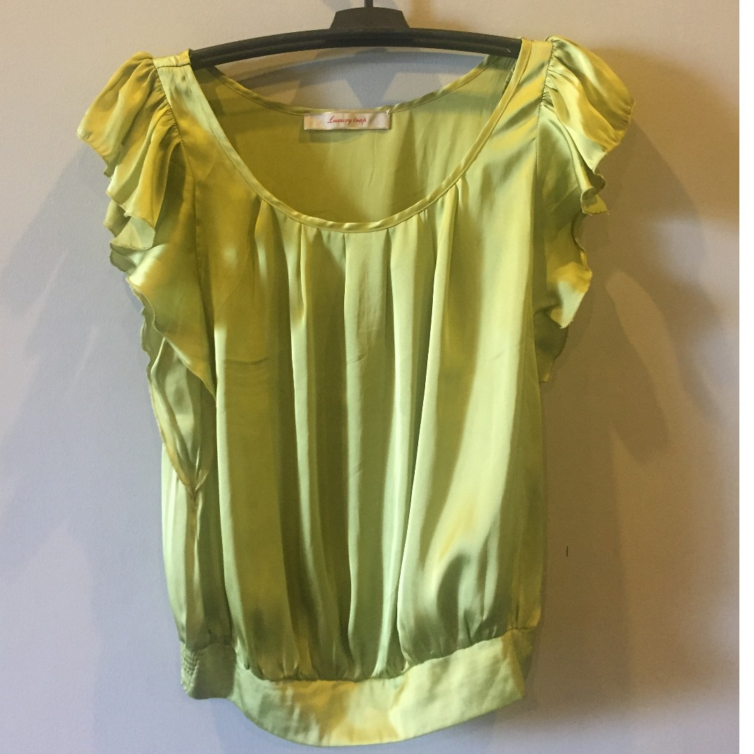 Green Silk Office Blouse