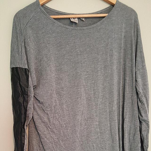 Grey Shirt With Leather Sleeves.  (L)