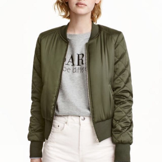 BRAND NEW H&M Bomber Jacket Quilted In Army
