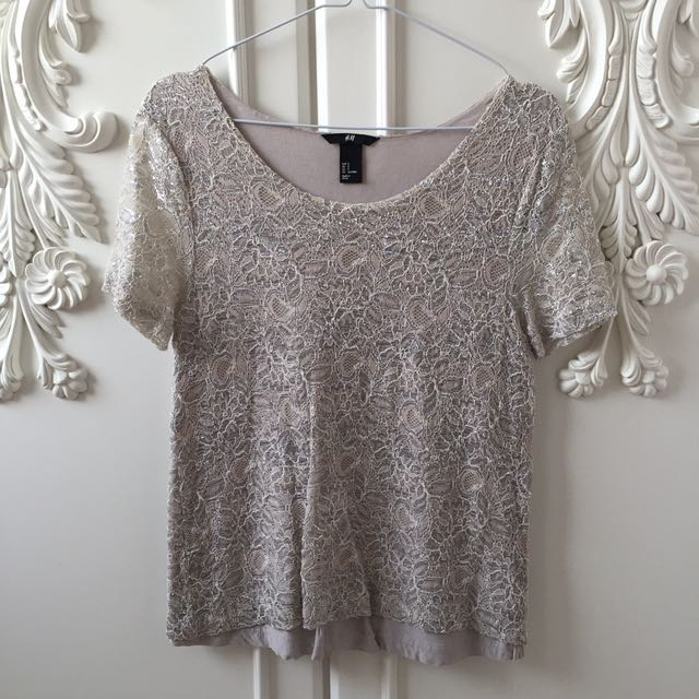H&M Lace Top Pink Blush