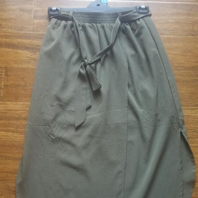 SALE Khaki Greeen Boho Skirt