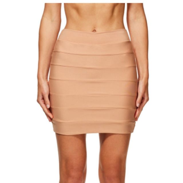 Kookai Light Tan Bandage Skirt 1