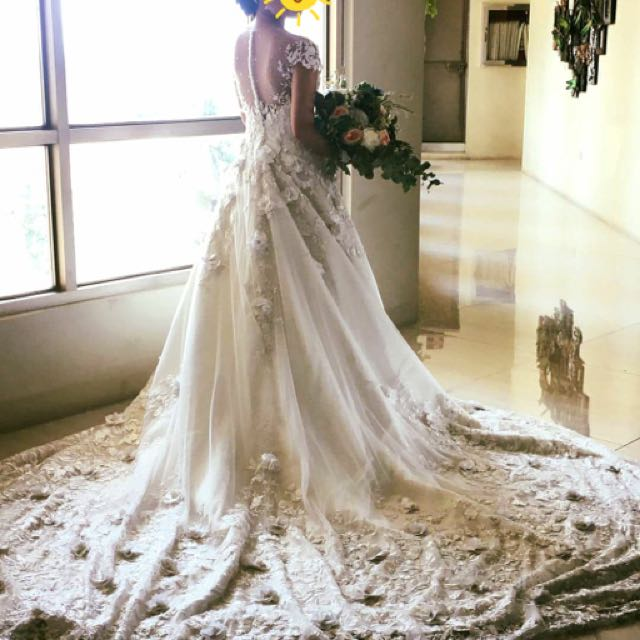 Lace Fully Beaded Bridal Wedding Gown, Luxury, Apparel on Carousell