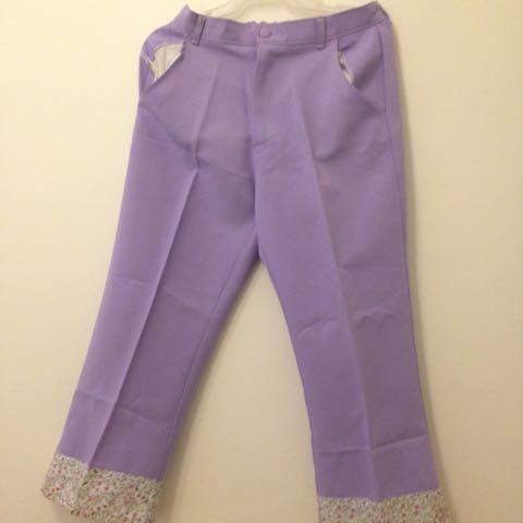 Lavander Pants With Floral Accents