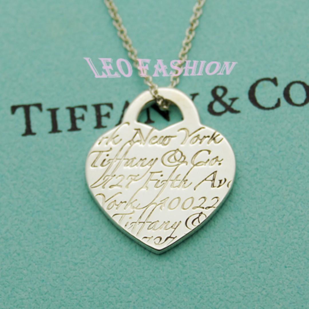 【LEO FASHION】二手正美品 Tiffany & Co. Notes系列 T&Co.刻印愛心牌項鍊