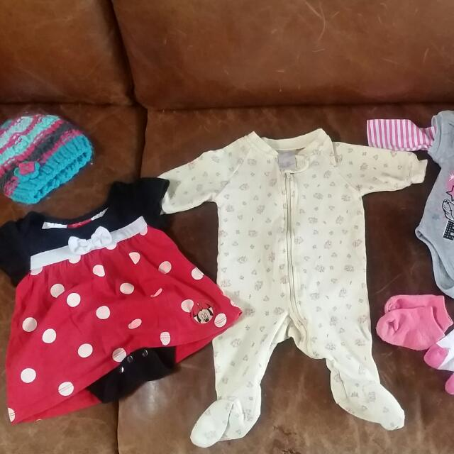 Mini Mouse Dress & Eeyore Onsie Plus Some New Born/0-3months