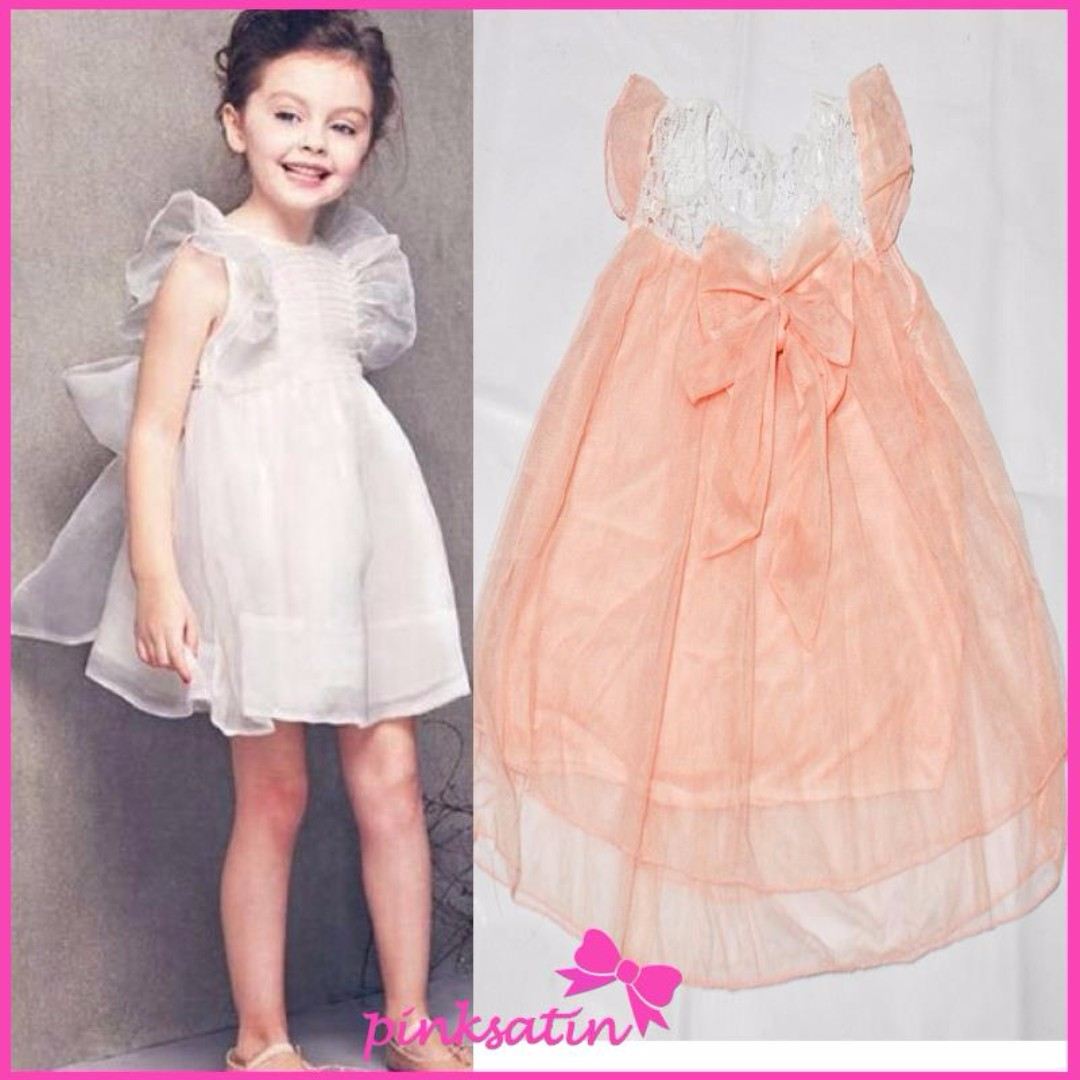 PEACH LACE DRESS KIDS GIRLS