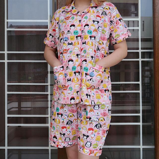 Pink Disney Tsum Tsum Pajamas Set - SHORT PANTS