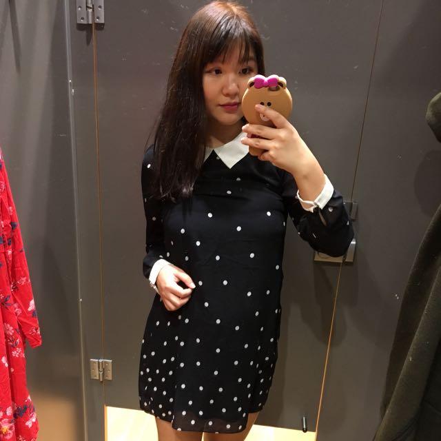 Polkadot Spots Polka Dot Black & White Collared Dress