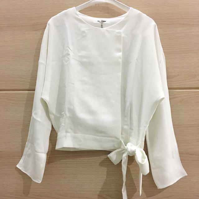 Pompous Korean White Blouse